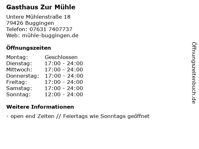 Gasthaus Zur Mühle in Buggingen: Adresse und Öffnungszeiten