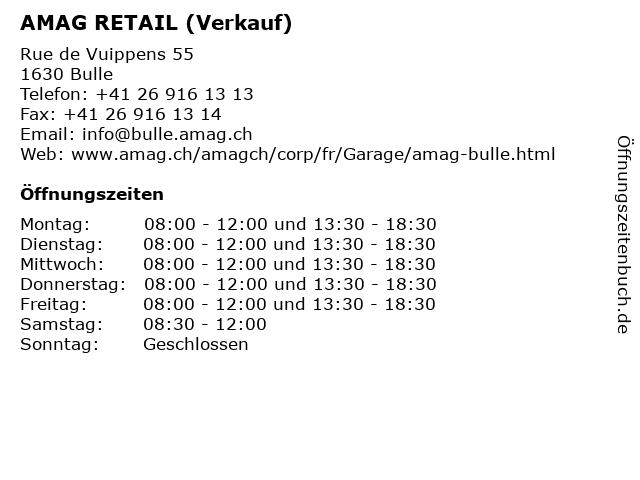 AMAG RETAIL (Verkauf) in Bulle: Adresse und Öffnungszeiten