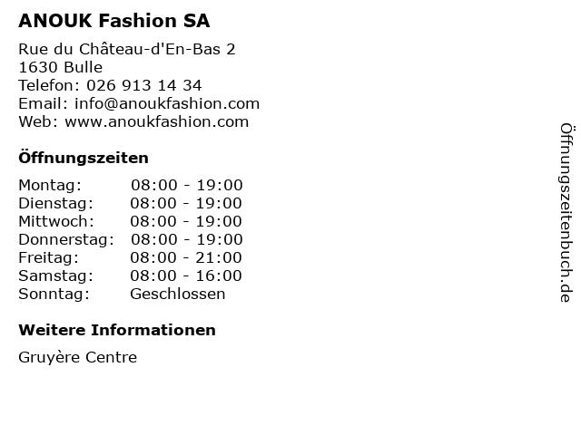 ANOUK Fashion SA in Bulle: Adresse und Öffnungszeiten