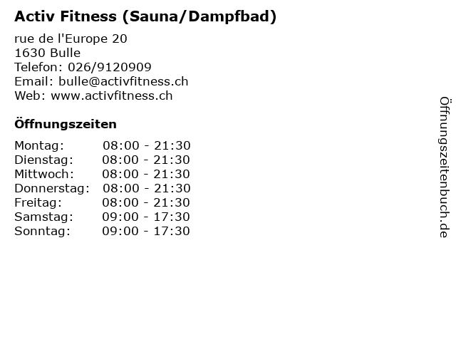 Activ Fitness (Sauna/Dampfbad) in Bulle: Adresse und Öffnungszeiten