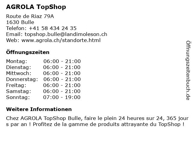 Agrola Tankstelle in Bulle: Adresse und Öffnungszeiten