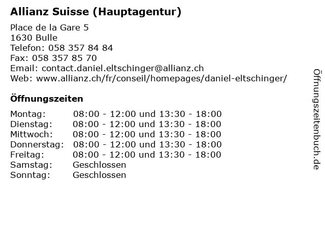 Allianz Suisse (Hauptagentur) in Bulle: Adresse und Öffnungszeiten