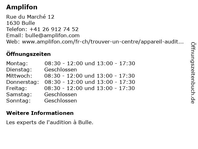 Amplifon in Bulle: Adresse und Öffnungszeiten