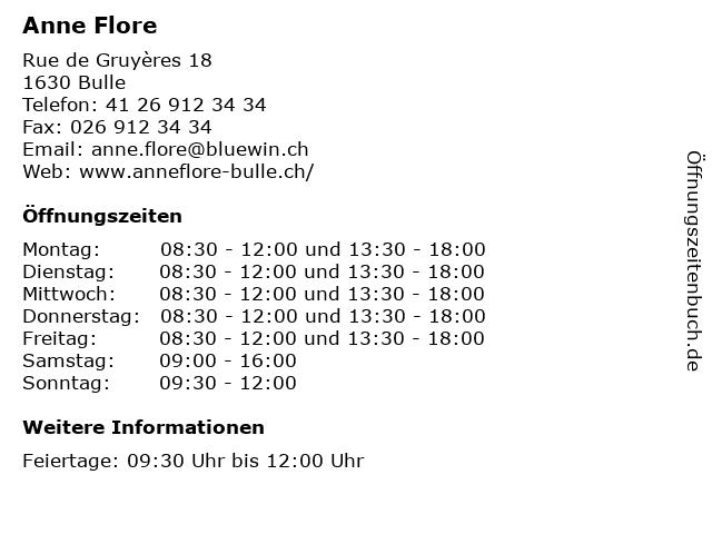 Anne Flore in Bulle: Adresse und Öffnungszeiten