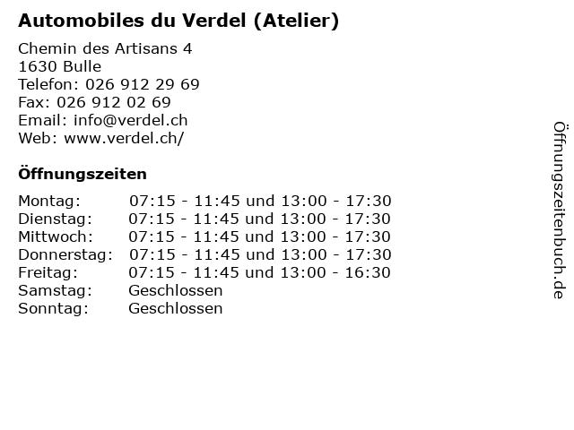 Automobiles du Verdel (Atelier) in Bulle: Adresse und Öffnungszeiten