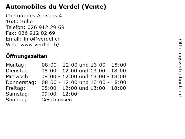 Automobiles du Verdel (Vente) in Bulle: Adresse und Öffnungszeiten
