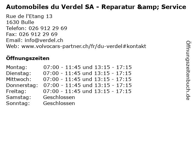 Automobiles du Verdel SA - Reparatur & Service in Bulle: Adresse und Öffnungszeiten