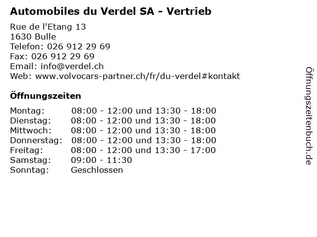Automobiles du Verdel SA - Vertrieb in Bulle: Adresse und Öffnungszeiten
