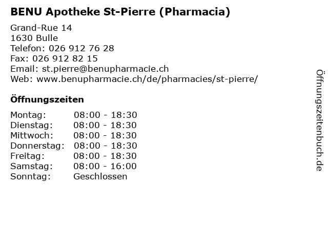 BENU Apotheke St-Pierre (Pharmacia) in Bulle: Adresse und Öffnungszeiten