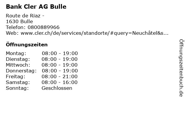 Bank Cler AG Bulle in Bulle: Adresse und Öffnungszeiten