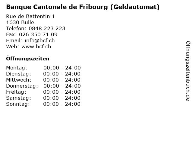 Banque Cantonale de Fribourg (Geldautomat) in Bulle: Adresse und Öffnungszeiten