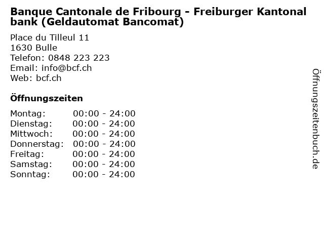 Banque Cantonale de Fribourg - Freiburger Kantonalbank (Geldautomat Bancomat) in Bulle: Adresse und Öffnungszeiten