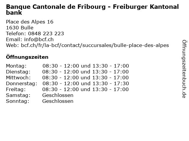 Banque Cantonale de Fribourg - Freiburger Kantonalbank in Bulle: Adresse und Öffnungszeiten