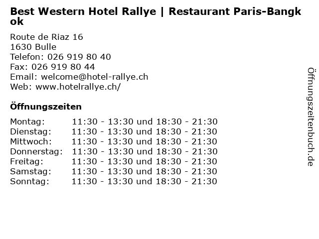 Best Western Hotel Rallye   Restaurant Paris-Bangkok in Bulle: Adresse und Öffnungszeiten