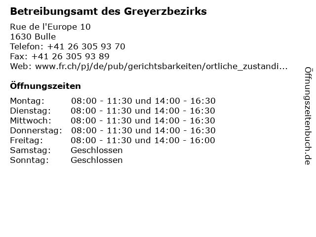 Betreibungsamt des Greyerzbezirks in Bulle: Adresse und Öffnungszeiten
