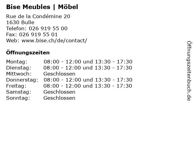 Bise Meubles | Möbel in Bulle: Adresse und Öffnungszeiten