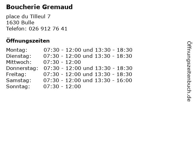 Boucherie Gremaud in Bulle: Adresse und Öffnungszeiten