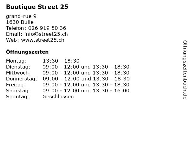 Boutique Street 25 in Bulle: Adresse und Öffnungszeiten