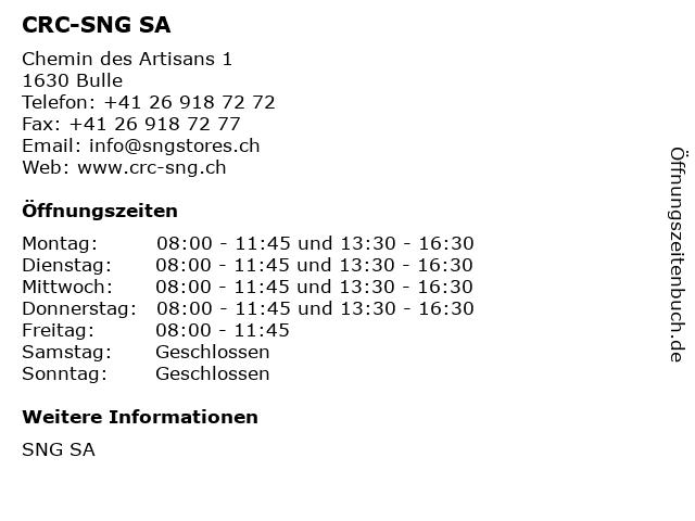 CRC-SNG SA in Bulle: Adresse und Öffnungszeiten