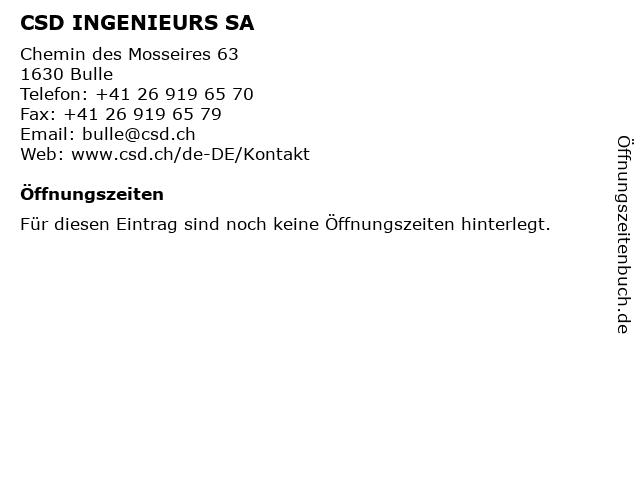 CSD INGENIEURS SA in Bulle: Adresse und Öffnungszeiten