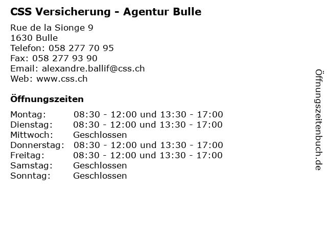 CSS Versicherung - Agentur Bulle in Bulle: Adresse und Öffnungszeiten