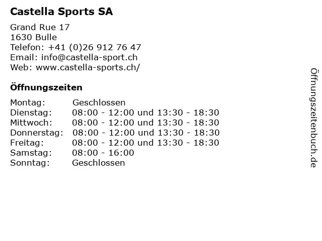 Castella Sports SA in Bulle: Adresse und Öffnungszeiten