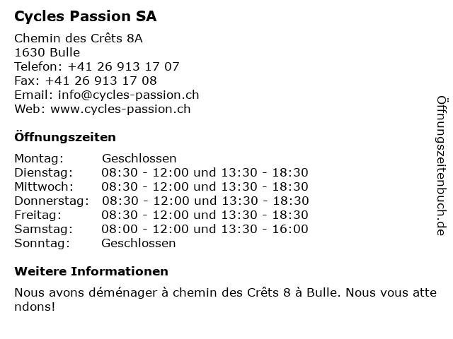 Cycles Passion SA in Bulle: Adresse und Öffnungszeiten