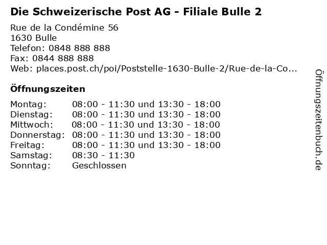 Die Schweizerische Post AG - Filiale Bulle 2 in Bulle: Adresse und Öffnungszeiten