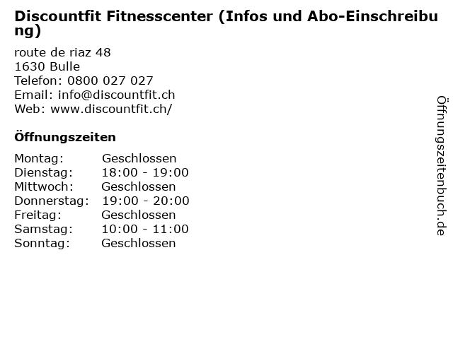 Discountfit Fitnesscenter (Infos und Abo-Einschreibung) in Bulle: Adresse und Öffnungszeiten