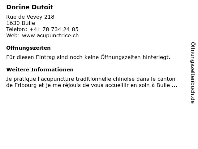 Dorine Dutoit in Bulle: Adresse und Öffnungszeiten