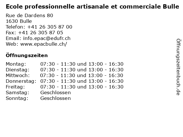 Ecole professionnelle artisanale et commerciale Bulle in Bulle: Adresse und Öffnungszeiten