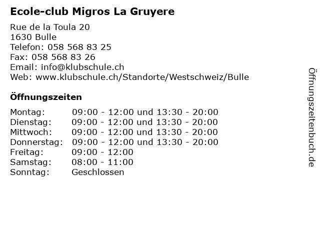 Ecole-club Migros La Gruyere in Bulle: Adresse und Öffnungszeiten