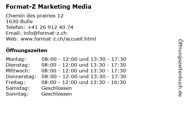 Format-Z Marketing Media in Bulle: Adresse und Öffnungszeiten