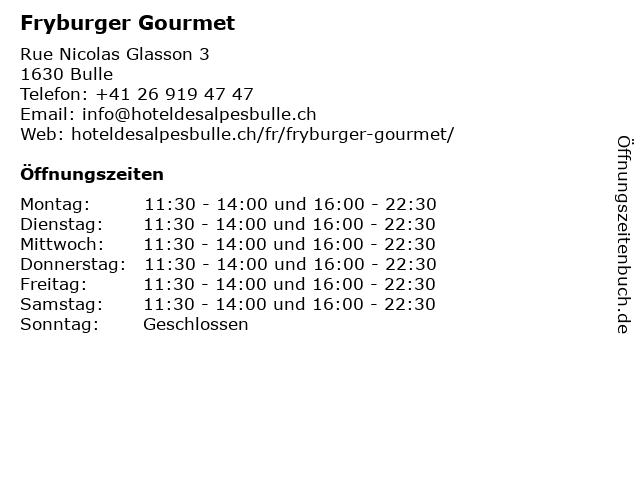 Fryburger Gourmet in Bulle: Adresse und Öffnungszeiten
