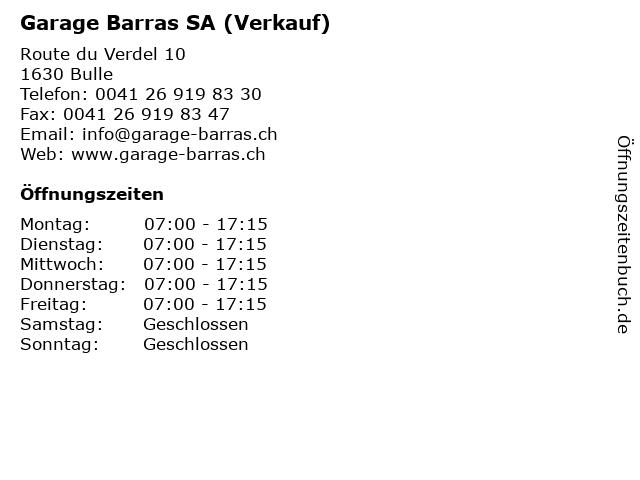 Garage Barras SA (Verkauf) in Bulle: Adresse und Öffnungszeiten