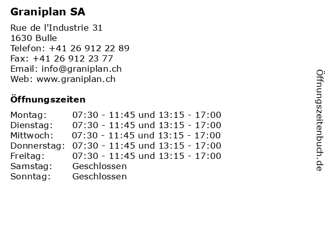 Graniplan SA in Bulle: Adresse und Öffnungszeiten