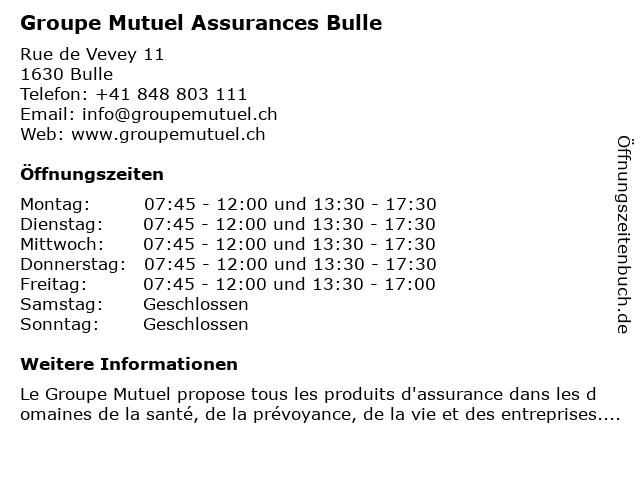 Groupe Mutuel Assurances Bulle in Bulle: Adresse und Öffnungszeiten
