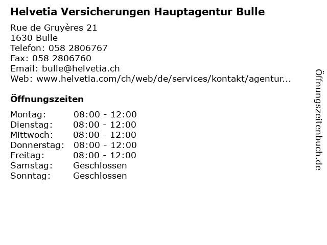 Helvetia Versicherungen Hauptagentur Bulle in Bulle: Adresse und Öffnungszeiten