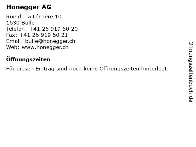 Honegger AG in Bulle: Adresse und Öffnungszeiten