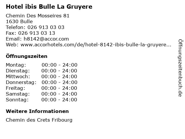 Hotel ibis Bulle La Gruyere in Bulle: Adresse und Öffnungszeiten