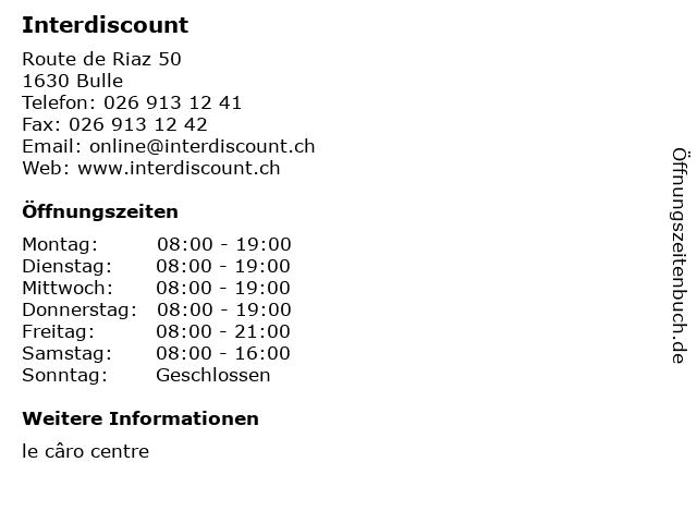 Interdiscount in Bulle: Adresse und Öffnungszeiten