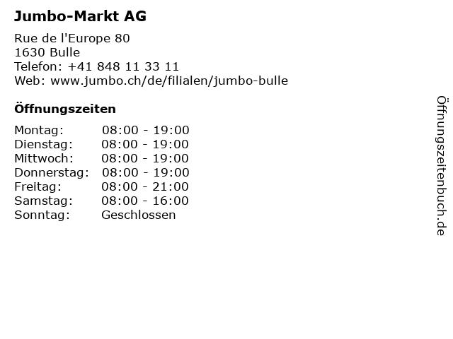 Jumbo-Markt AG in Bulle: Adresse und Öffnungszeiten