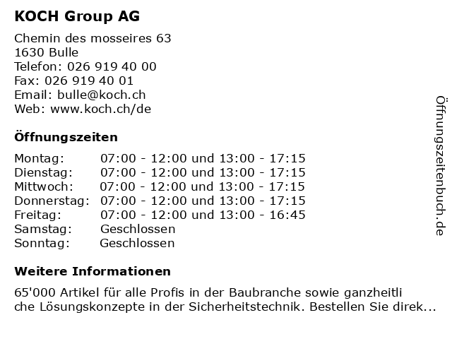 KOCH Group AG in Bulle: Adresse und Öffnungszeiten
