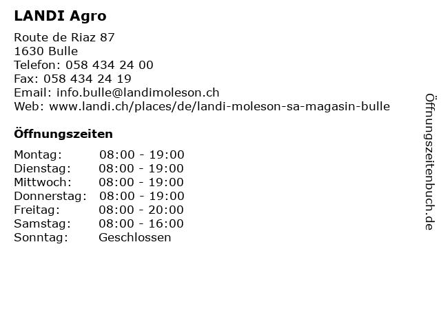 LANDI Agro in Bulle: Adresse und Öffnungszeiten