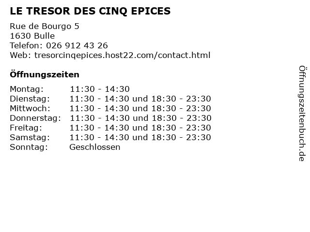 LE TRESOR DES CINQ EPICES in Bulle: Adresse und Öffnungszeiten