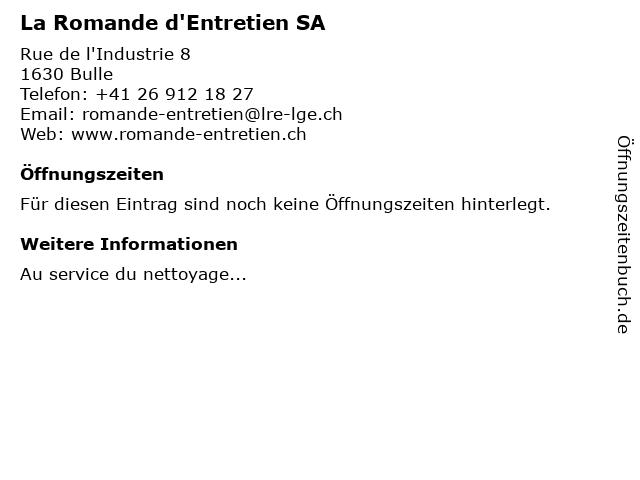 La Romande d'Entretien SA in Bulle: Adresse und Öffnungszeiten