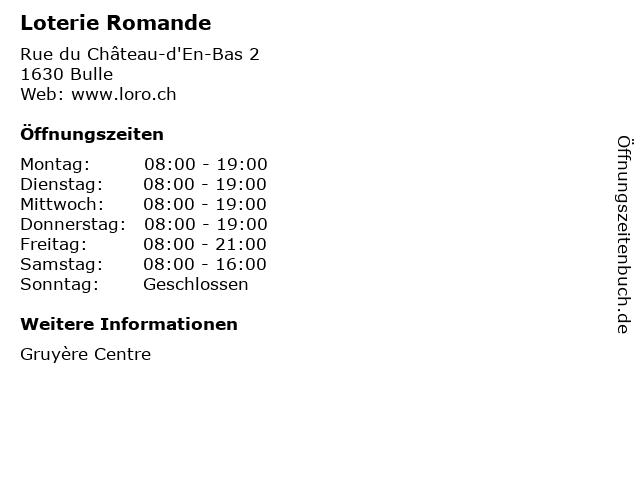 Loterie Romande in Bulle: Adresse und Öffnungszeiten