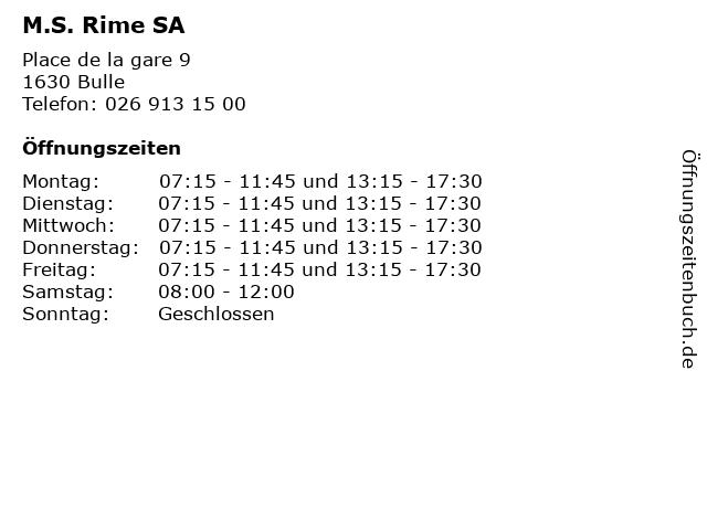 M.S. Rime SA in Bulle: Adresse und Öffnungszeiten