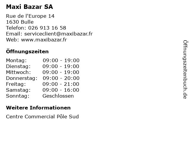 Maxi Bazar SA in Bulle: Adresse und Öffnungszeiten
