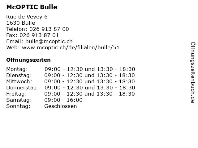 McOPTIC Bulle in Bulle: Adresse und Öffnungszeiten